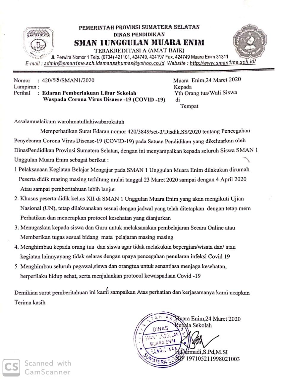 Edaran Pemberlakuan Libur Sekolah Waspada Corona Virus Disease 19