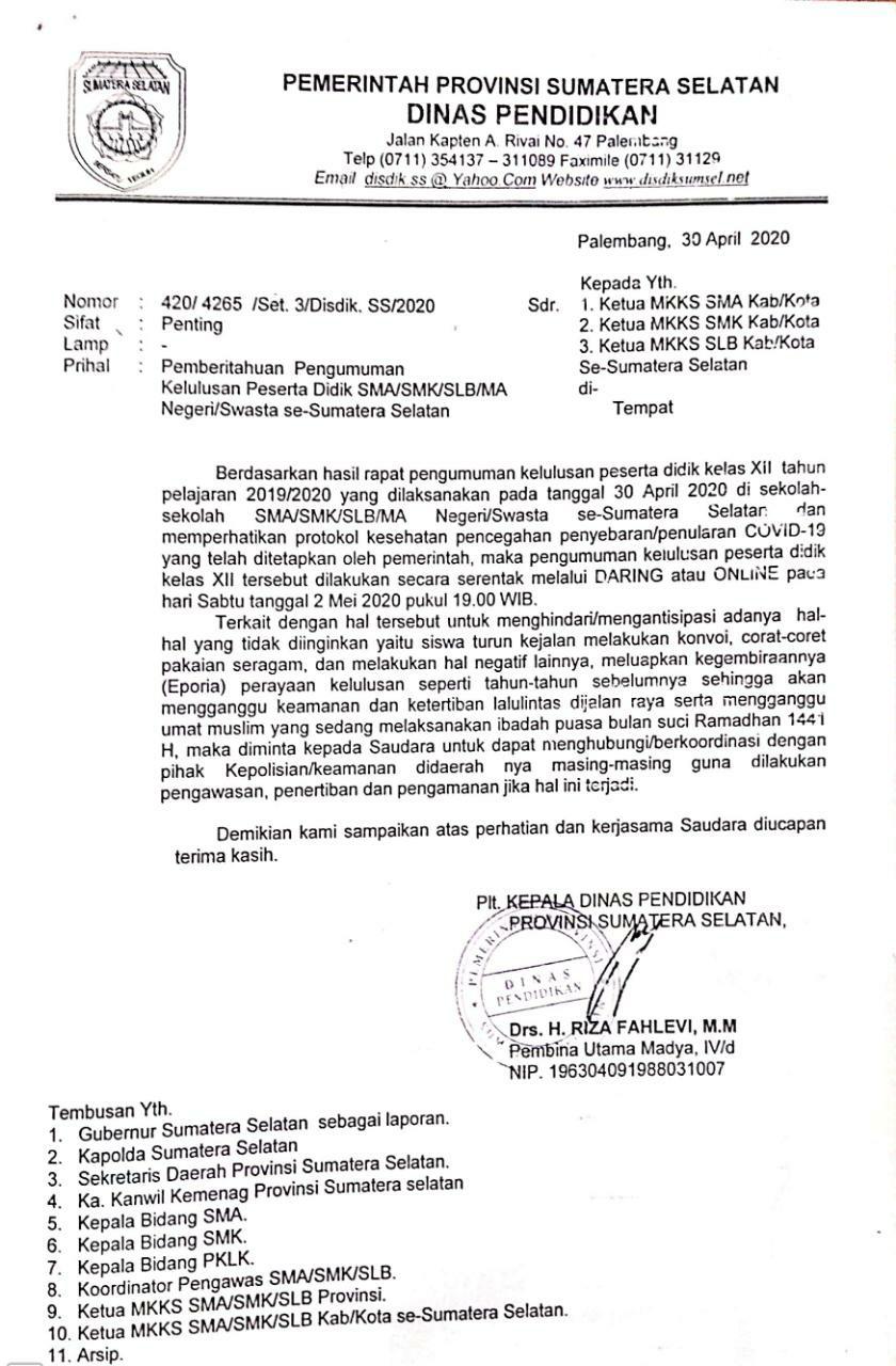 Pengumuman Kelulusan Peserta Didik SMA-SMK-SLB se-Sumatera Selatan